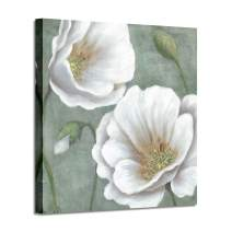Abstract Flower Canvas Wall Art: White Floral Painting Canvas Picture Wall Art for Bedroom (24'' x 24'' x 1 Panel)