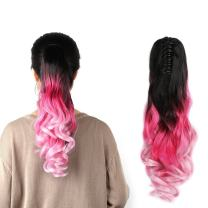 """Neverland Beauty 22"""" Claw on Triple Ombre Three Tone Synthetic Curly Wavy Ponytail Hair Extensions Brown Black to Rose Red to Pink"""