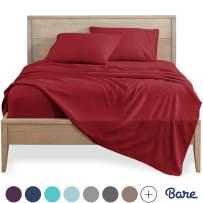 Bare Home Full Sheet Set - Kids Size - 1800 Ultra-Soft Microfiber Bed Sheets - Double Brushed Breathable Bedding - Hypoallergenic - Wrinkle Resistant - Deep Pocket (Full, Red)