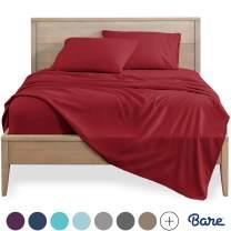 Bare Home Split King Sheet Set - 1800 Ultra-Soft Microfiber Bed Sheets - Double Brushed Breathable Bedding - Hypoallergenic – Wrinkle Resistant - Deep Pocket (Split King, Red)