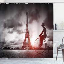 "Ambesonne Eiffel Tower Shower Curtain, Man on Retro Bicycle Next to Eiffel Tower Paris France Dramatic Sky Sun, Cloth Fabric Bathroom Decor Set with Hooks, 75"" Long, Grey Red"