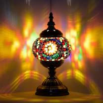 Marrakech Turkish Table Lamp Handmade Mosaic Glass Bedside Lamp Moroccan Lantern Tiffany Style Night Lights for Living Room with E12 LED Bulb