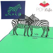 PopLife Zebra Safari Pop Up Card, 3D Card for All Occasions - African Savanna Themed