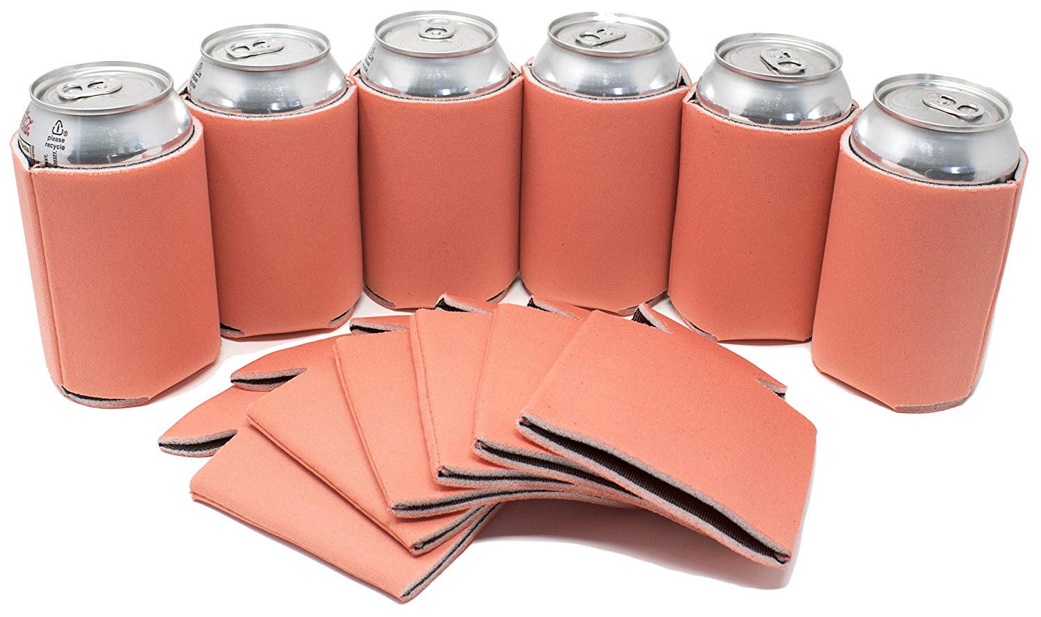 TahoeBay 12 Blank Beer Can Coolers, Plain Bulk Collapsible Soda Cover Coolies, DIY Personalized Sublimation Sleeves for Weddings, Bachelorette Parties, Funny HTV Party Favors (Coral, 12)