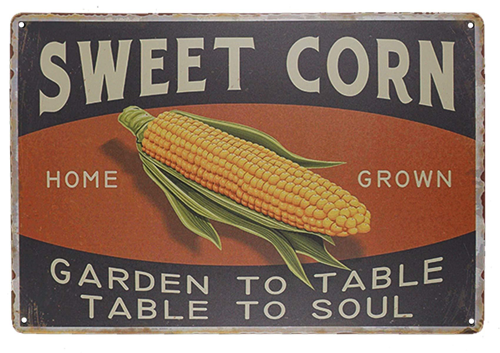 "TISOSO Sweet Corn Retro Vintage Metal Tin Sign Home Bar Kitchen Farmhouse Home Decor Signs Gifts Size 8"" X 12""(Garden to Table Table to Soul)"