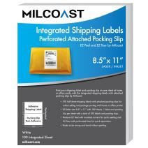 Milcoast Integrated Shipping Labels with Perforated Attached Packing Slip - for Inkjet/Laser Printers (100 Sheets)