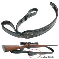 op original power Genuine Leather Rifle Sling, Cowhide Gun Shoulder Carry Sling with Handle Straps