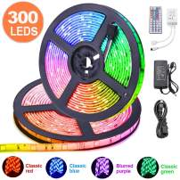 SFOUR LED Strip Lights Kit, Waterproof 2x5m(32.8ft in Total) 5050 RGB 300led Strips Lighting Flexible Color Changing with 44 Key IR Remote Ideal for Home, Kitchen, DC 12V 6A UL Listed