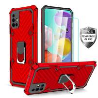 Samsung Galaxy A51 Case with [2 x Tempered Glass Screen Protector] [ Military Grade ] 15Ft. Drop Tested Armor Protective Phone Case with Magnetic Car Mount Ring Kickstand for Galaxy A51 (Red)