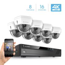 Amcrest 4K Security Camera System w/ 4K 16CH (8-Port PoE) NVR, (8) x 4K (8-Megapixel) IP67 Weatherproof Metal Dome POE IP Cameras (3840x2160), 2.8mm Wide Angle Lens, NV4116E-HS-IP8M-2493EW8 (White)