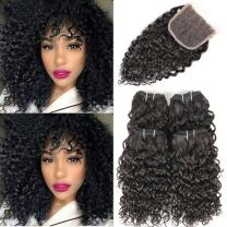 Human Hair Curly Bundles with Closure- Urbeauty 9A Mongolian Virgin Jerry Curly Hair 4 Bundles with Lace Closure 8 inch Unprocessed Natural Color