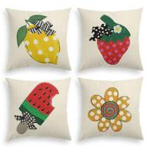 AVOIN Watercolor Summer Fruits Flowers Throw Pillow Cover, 18 x 18 Inch Lemon Watermelon Ice Cream Strawberry Stripes Buffalo Check Plaid Polka Dot Bow Cushion Case for Sofa Couch Set of 4