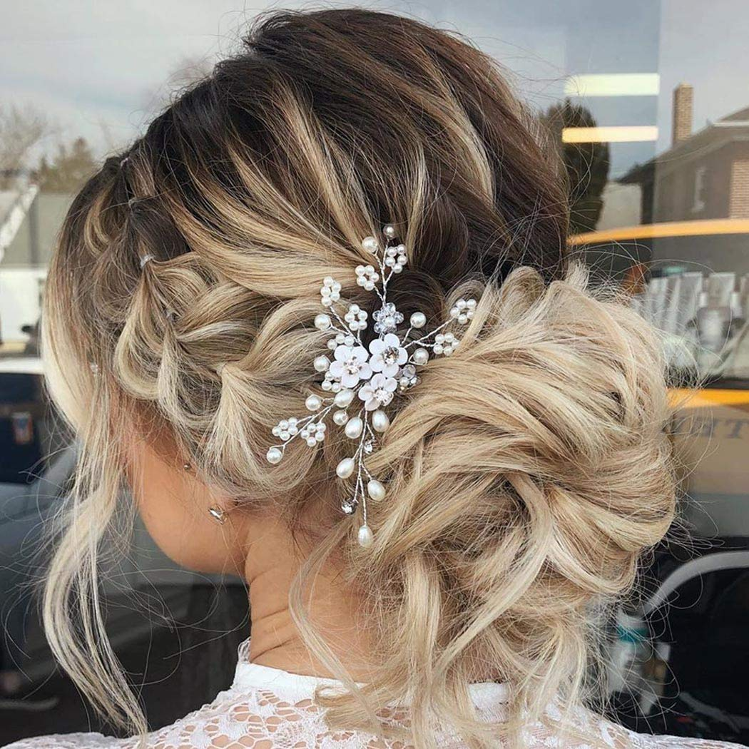 Unicra Flower Bride Wedding Hair Pins Bridal Hair Piece Pearl Hair Accessories for Women and Girls (Rose Gold)