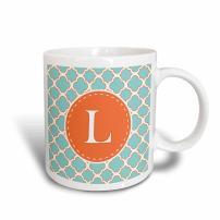 3dRose Letter K Monogram Orange And Blue Quatrefoil Pattern Mug, 11 oz