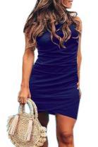 Assivia Women's Sleeveless Sheath Dress Solid Color Irregular Hem Bodycon Mini Dresses