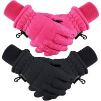 2 Pairs Kids Winter Ski Gloves Waterproof Warm Snow Mittens Full Finger Gloves for 1-3 Years Toddlers Infants