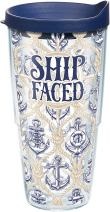 Tervis 1289201 Ship Faced Tumbler with Wrap and Navy Lid 24oz, Clear