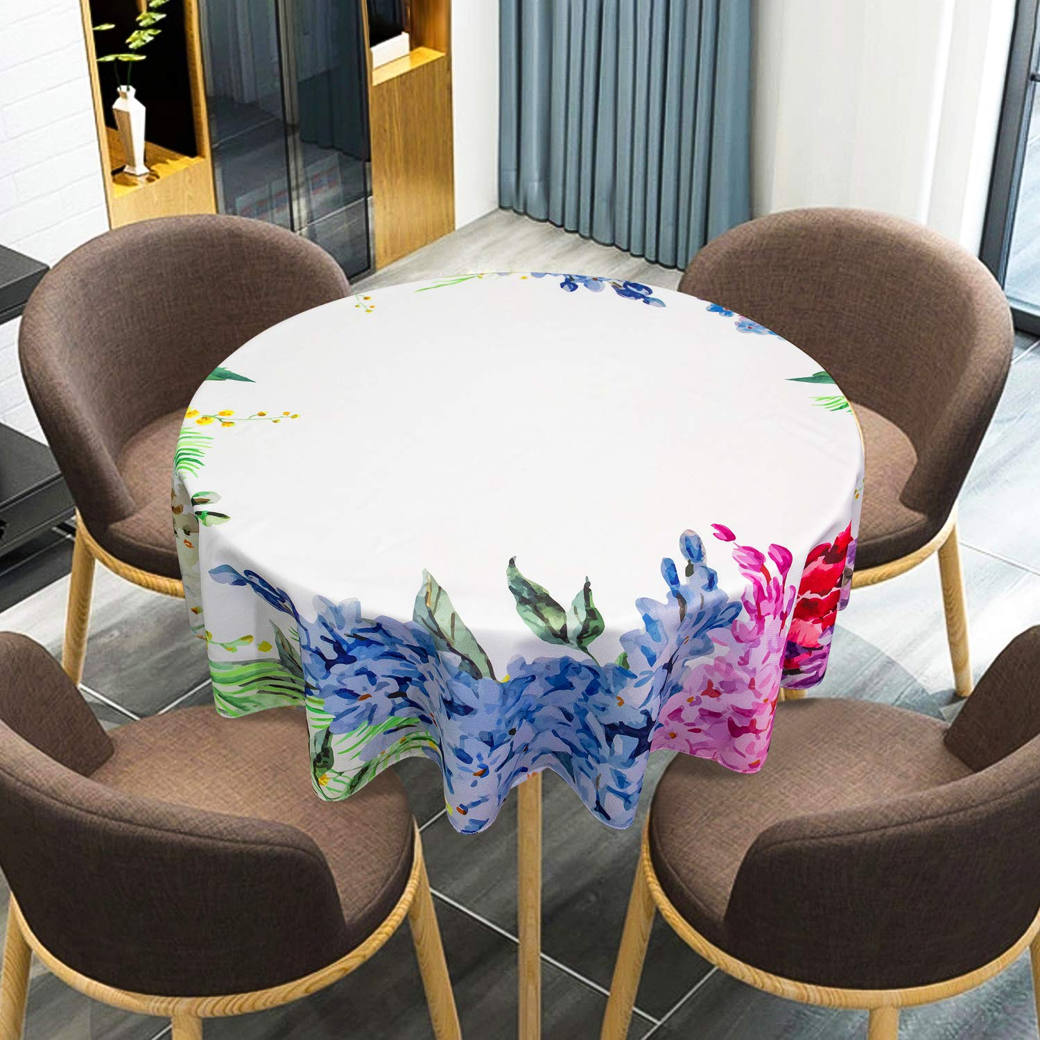 """VVA Round Tablecloth,Flower Springtime Fragrance Garland with Bright Bunch of Lilac Lavender Rose Peony Urban Watercolor Style for Holiday Family Dinners or Gatherings,Indoor Outdoor Events 60"""" Inch"""