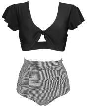 COCOSHIP Women's Retro Floral High Waisted Shirred Bikini Set Tie Front Short Sleeve Top Ruffle Swimsuit(FBA)