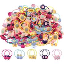 WillingTee 100pcs (50 Pairs) Mix Colors Girl's Elastic Hair Ties Soft Rubber Bands Hair Bands Holders Pigtails Hair Accessories for Girls Infants Toddlers Kids Teens and Children