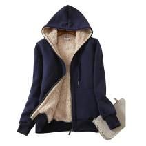 TOLOER Women's Casual Winter Warm Sherpa Lined Fleece Zip Up Hooded Jacket Coat