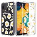 Caka Galaxy A20 Case Clear with Design, Galaxy A20 Case Daisy Floral Clear Flowers Pattern for Girls Women Girly Slim Soft TPU Transparent Protective Case for Galaxy A20/A30 -Daisy
