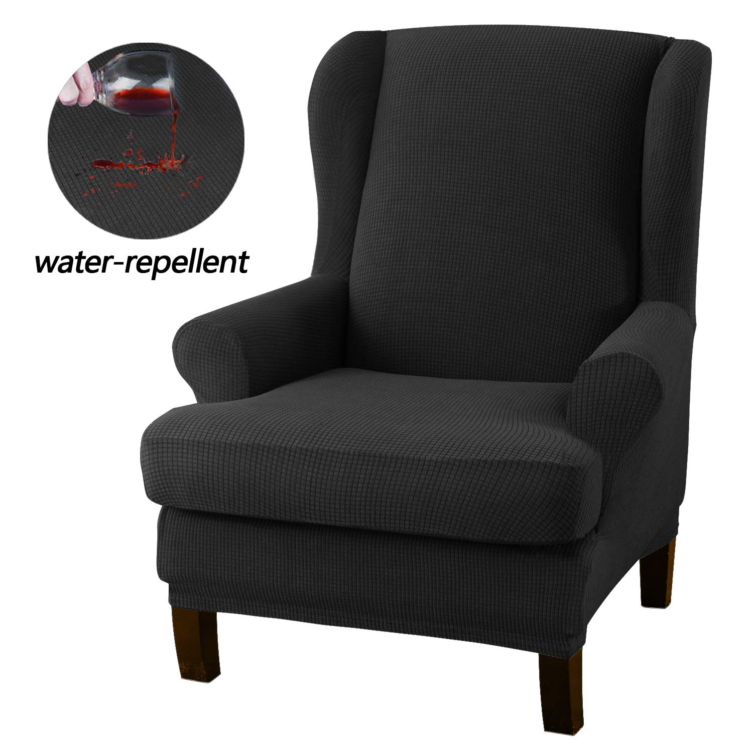 Granbest Premium Water Repellent Wingback Chair Cover 2-Piece High Stretch Jacquard Fabric Wing Back Chair Slipcovers (Wing Chair Cover, Black)