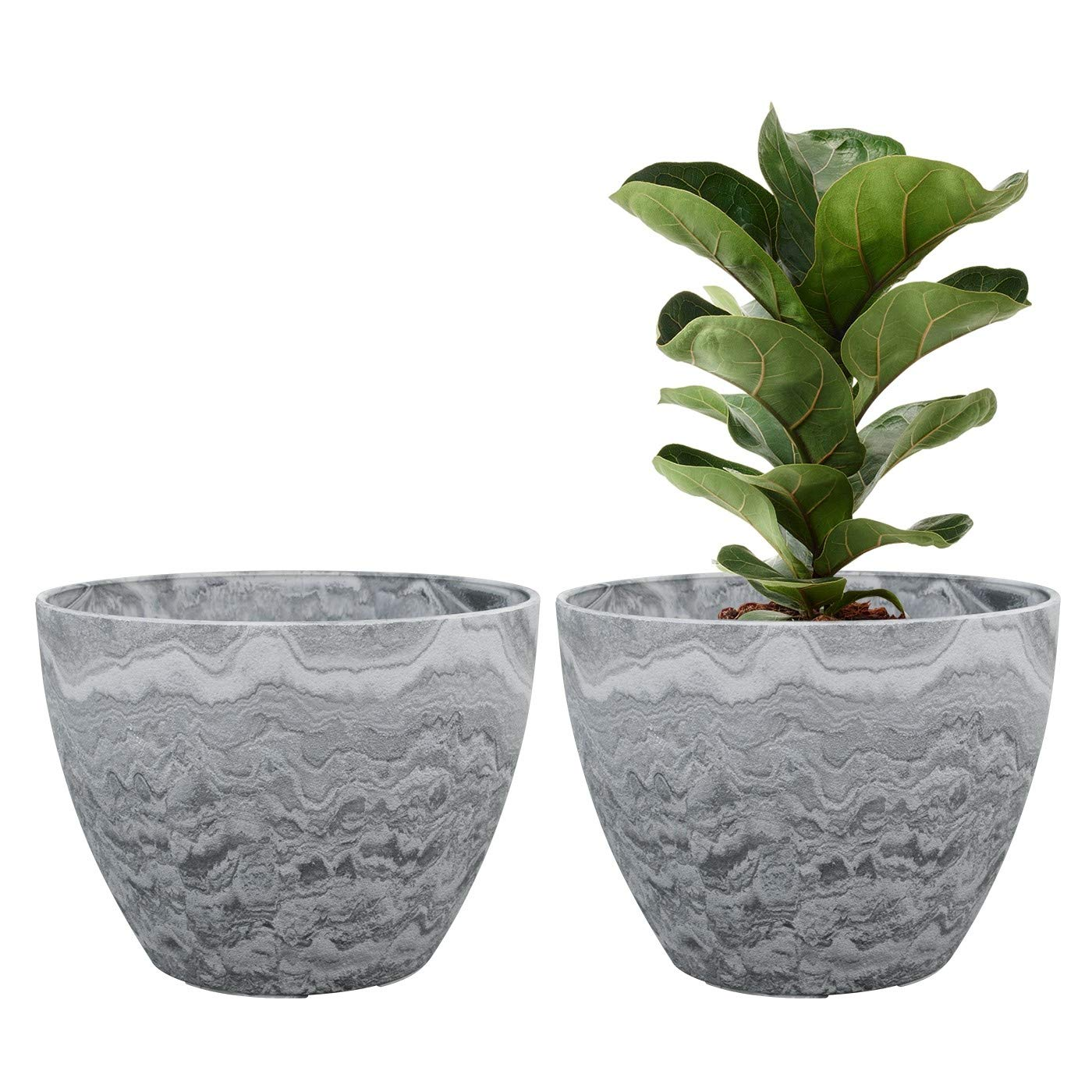 LA JOLIE MUSE Flower Pot Large Garden Planters 11.3 Inches Pack 2 Outdoor Indoor, Outdoor Planters with Drain Hole (Marble)