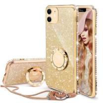 OCYCLONE Cute iPhone 11 Case, Glitter Luxury Bling Diamond Rhinestone Bumper with Ring Grip Kickstand Protective Thin Girly Pink iPhone 11 Case for Women Girl [6.1 inch] 2019 - Gold