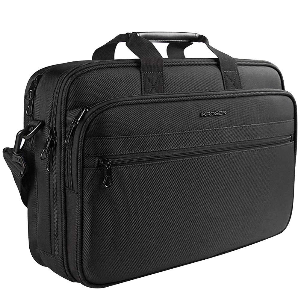 KROSER Laptop Bag Laptop Briefcase Fits Up to 16 Inch Laptop Water-Repellent Light Weight Shoulder Bag Laptop Messenger Bag Computer Bag For Travel/Business/School/Men/Women-Black
