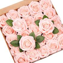 Mocoosy 50Pcs Artificial Rose Flowers, Blush Pink Roses Real Touch Foam Fake Rose Bulk with Stem for Wedding Bouquets Centerpieces Bridal Shower Party Home DIY Artificial Flower Arrangement Decoration