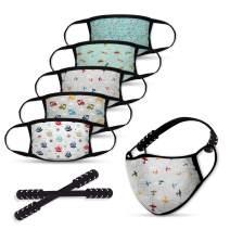 Kids Reusable Face Mask, 5pcs Face Mask with 2 Mask Extender Strap
