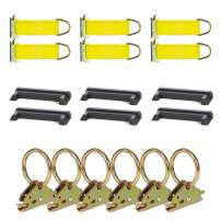 DC Cargo Mall E Track Tie-Down Kit - 18 Pieces: E-Track Accessories for Horizontal Rails | Includes O-Rings, Rope Tie-Offs, and End Caps (E-Track Rails NOT Included)