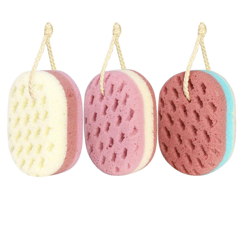 KECUCO 3 Pcs Soft Bath Sponge for Women, Men, Kids, 100% Fiber Sponge Body Shower Sponge Body Scrubber, 3 Different Colors and Extra Large Size XL with Fine, Soft, Rich Foam (for Children/Kids)