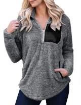 MEROKEETY Women's Long Sleeve Zipper Sherpa Pullover Tops Patchwork Pockets Fleece Sweatshirt