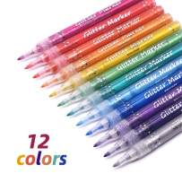 TWOHANDS Glitter Markers,Drawing Pens,Water-Based,12 Assorted Colors,Great for Paper,Posters,Greeting and Gift Cards
