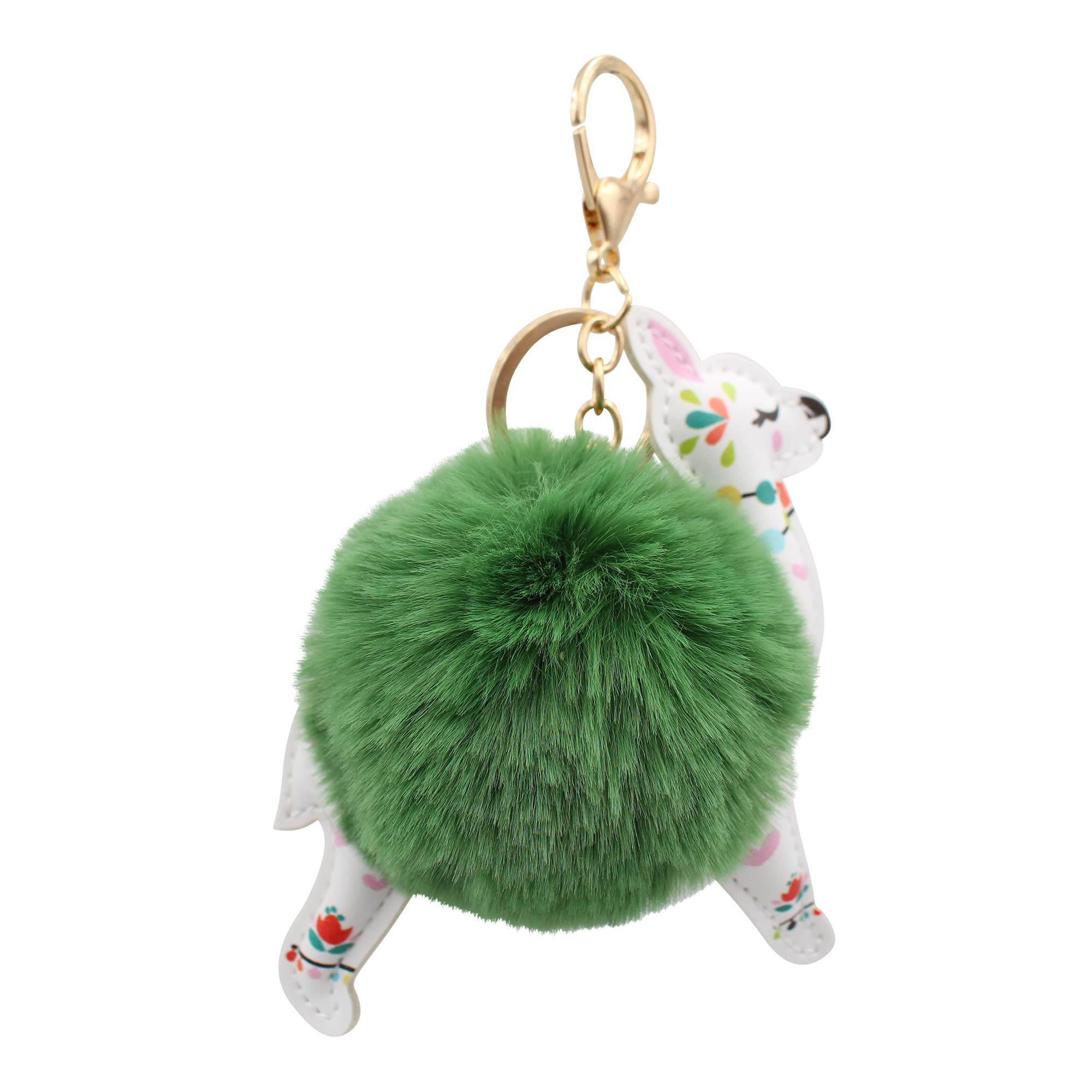 REAL SIC Alpaca/Llama Pom Pom Keychain - Faux Fur Fluffy Fuzzy Charm For Women & Girls