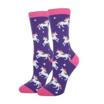 HAPPYPOP Women Girls Funny Rainbow Unicorn Cotton Crew Socks, Cute Unicorn with Donuts Narwhal Poop Gift Socks