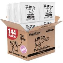 ValueFresh Disposable Diapers for Female Dogs, Small, 144 Count - Full Coverage w/Tail Hole, Incontinence, Excitable Urination, Travel, Snag-Free Fasteners, Leak Protection, Wetness Indicator