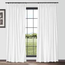 TWOPAGES Paper White Pinch Pleated Curtains 45 Inches Long for Small Window, Natural Window Curtains Panels Flax Linen Cotton Room Darkening Curtains (Set of 2, 26W x 45L)