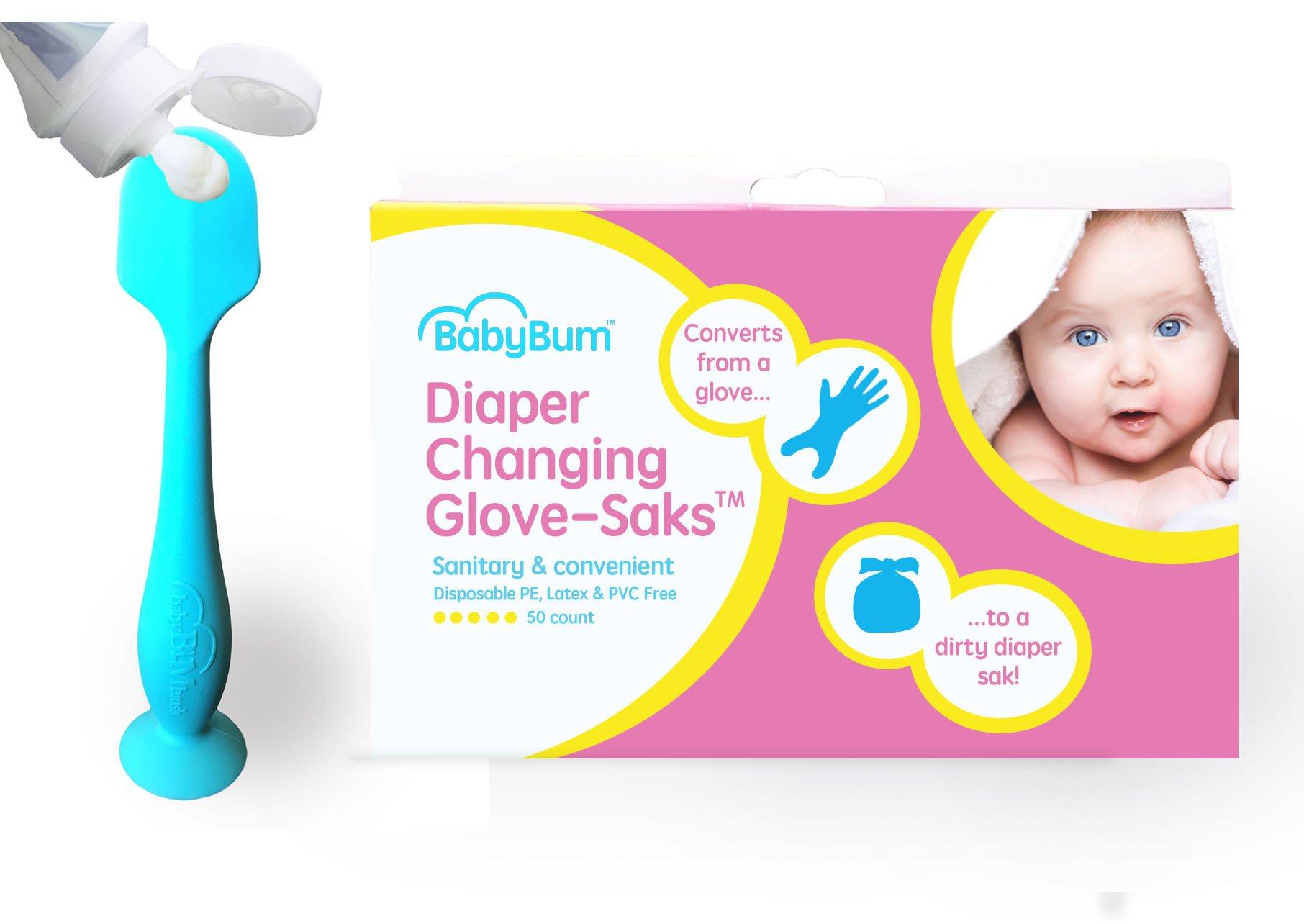 Blue BabyBum Brush & Diaper Changing Glove-Saks