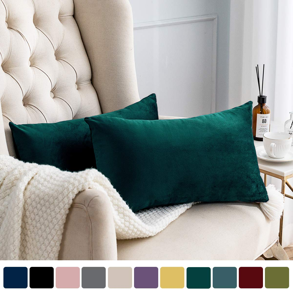 MUDILY Pack of 2 Velvet Soft Decorative Oblong Back Protecting Throw Pillow Covers Cushion Pillowcase for Sofa Chair Bedroom Car, Teal 12 x 20 Inch 30 x 50 cm