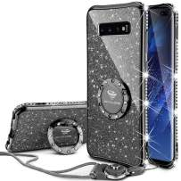 OCYCLONE Cute Galaxy S10 Plus Case, Not Fit Galaxy S10 [6.1 inch] and Galaxy S10E [5.8 inch], Glitter Bling Diamond Bumper with Ring Protective Galaxy S10+ Plus Case for Women Girl - Purple Black