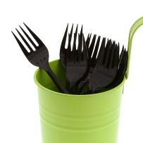AmerCare Medium Weight Black Polypropylene Forks, Case of 1000