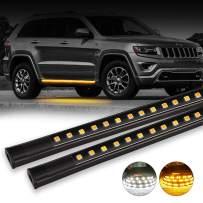 OFFROADTOWN 2pcs 48 Inch Jeep Light LED Board Running Light for Extended & Crew Cab Jeeps White/Amber Turn Signal Side Marker & Courtesy LED Lighting Strips Running Lights Kit for jeep UTV SUV