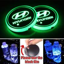 Heart Horse LED Cup Holder Lights, Car Logo Coaster with 7 Colors Changing USB Charging Mat, Luminescent Cup Pad Interior Atmosphere Lamp Decoration Light for Hyundai Accessories (2 PCS, Waterproof)