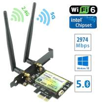 Ziyituod WiFi 6 Bluetooth5.0 AX 2974Mbps PCIe Wireless WiFi Network Card,Dual Band(5GHz 2400Mbps/ 2.4GHz 574Mbps) PCI Express Wireless Card for Desktop PC, Support Windows 10 64bit,Linux