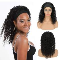 VROOSAR Headband Wig Water Wave Machine Made Wigs Curly Human Hair Wig None Lace Front Wigs for Black Women Glueless Natural Color Costume Wigs 150% Density 18 Inches