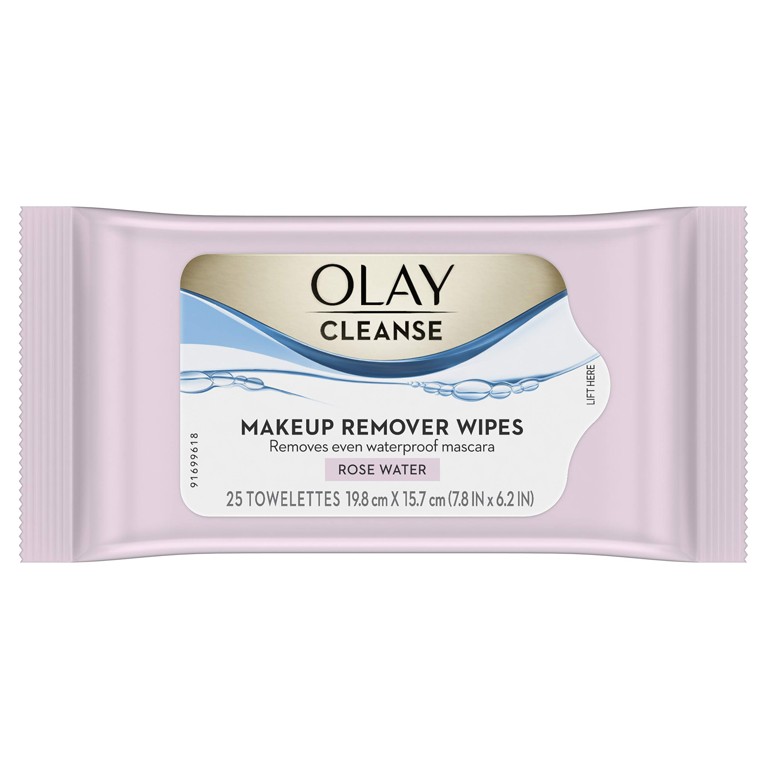 Olay Cleanse Makeup Remover Wipes Rose Water, 25 count