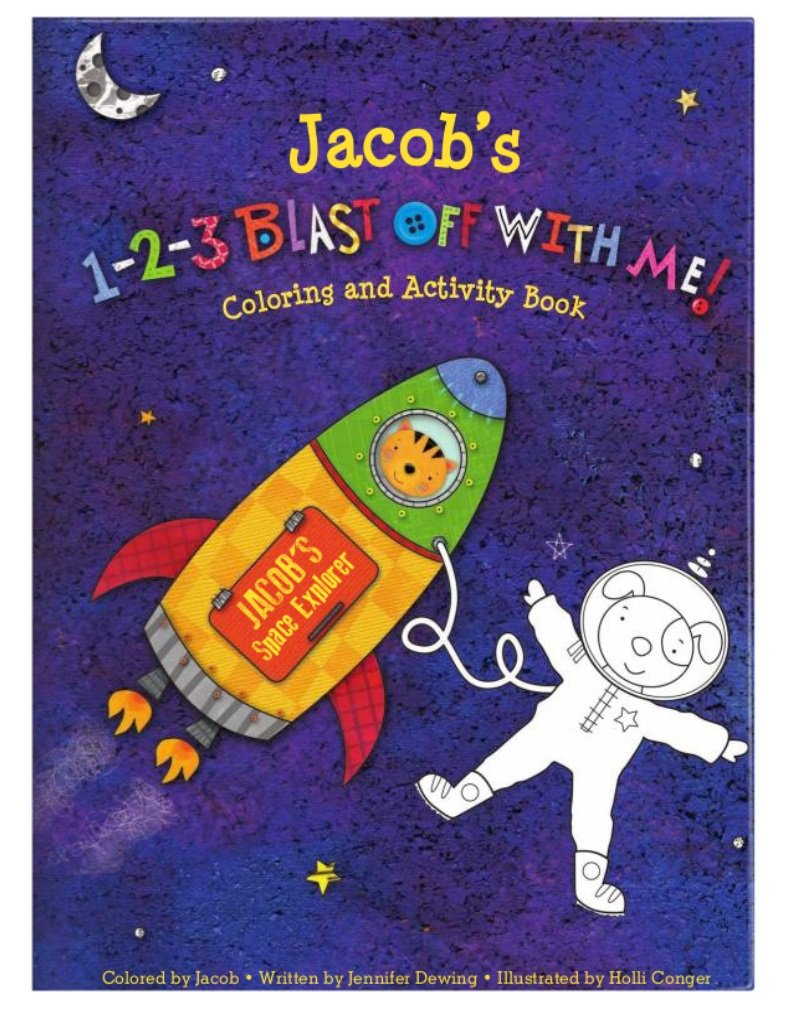 Coloring Book for Kids Toddlers Children Girls Boys, Personalized Custom Name, Outer Space